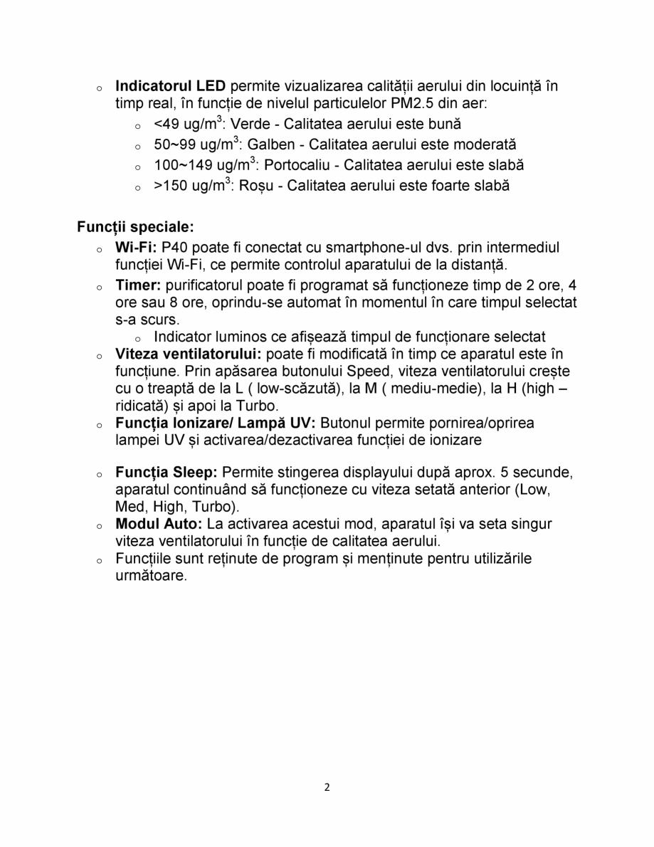 Pagina 2 - Purificator de aer  AlecoAir P40 Smart  Fisa tehnica Romana la praful și particulele...