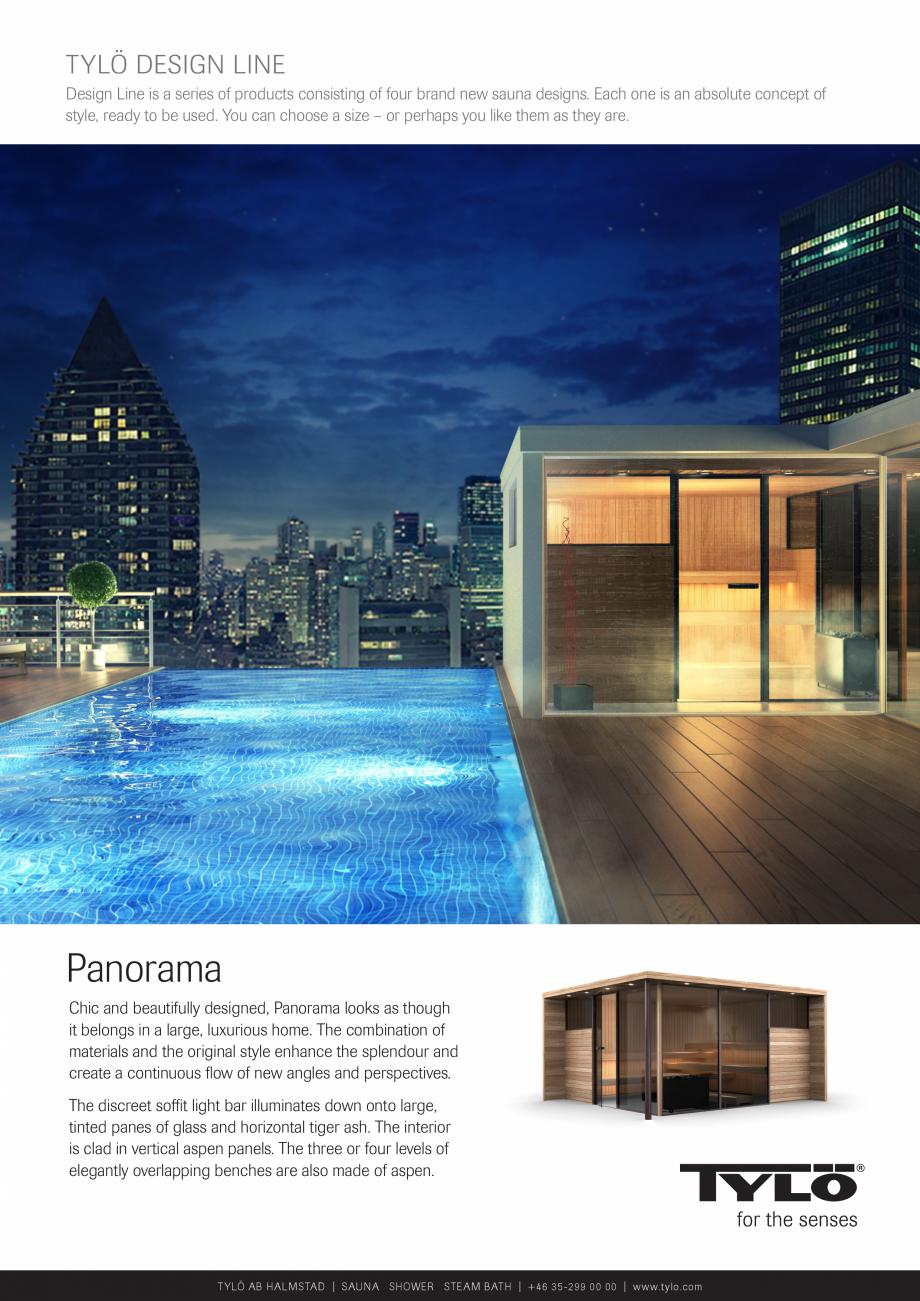 Pagina 1 - Sauna  modulara UE Panorama Catalog, brosura Engleza TYLÖ DESIGN LINE Design Line is a...