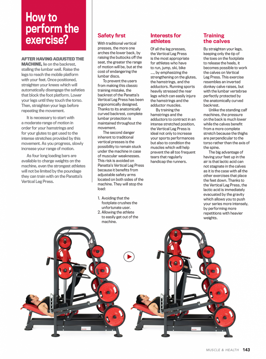 Pagina 4 - Aparat de fitness PANATTA VERTICAL LEG PRESS Fisa tehnica we can mention the Quadriceps, ...