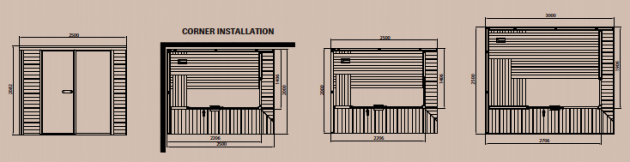 Schiță dimensiuni Sauna modulara design Panorama