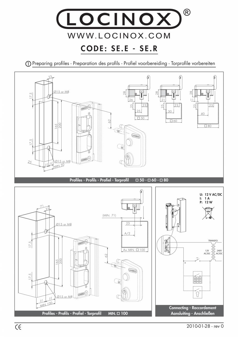 Pagina 1 - Accesorii si componente pentru porti pietonale - SE.E - SE.R LOCINOX Instructiuni montaj,...