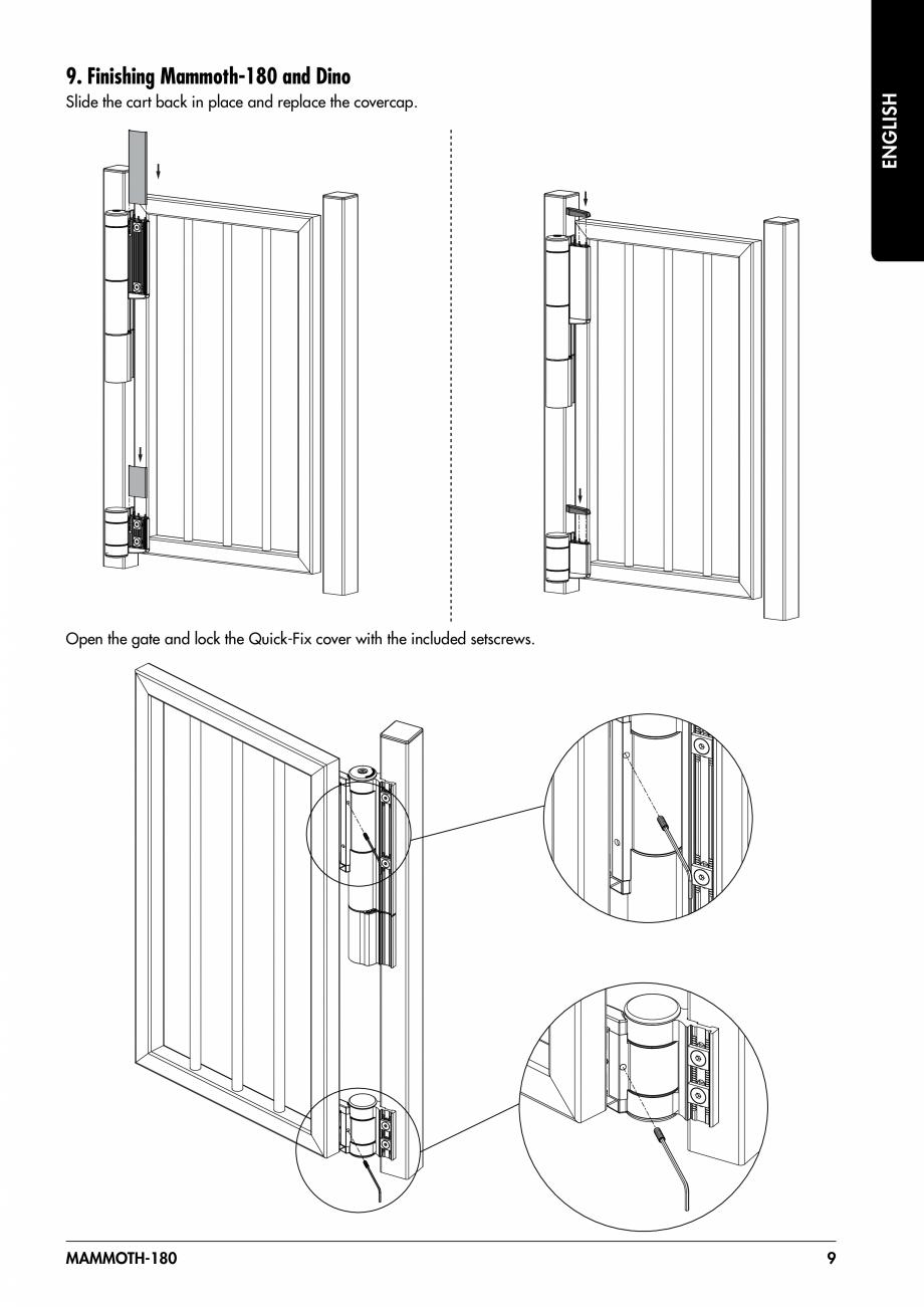 Pagina 9 - Balama pentru porti pietonale - MAMMOTH 180 LOCINOX Instructiuni montaj, utilizare...