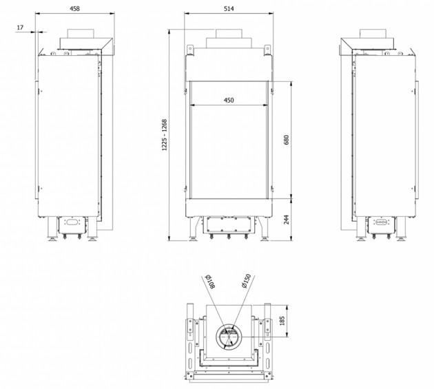 Schiță dimensiuni Semineu pe gaz (retea) - L45/68 - G20 - Turn