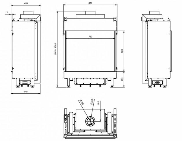 Schiță dimensiuni Semineu pe gaz (butelie) - L76/62 - GPL G31 - 76cm