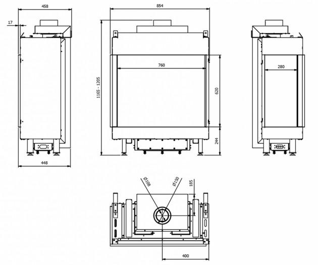 Schiță dimensiuni Semineu pe gaz (retea) - L76/62 Sticla Stanga - G20 - 76