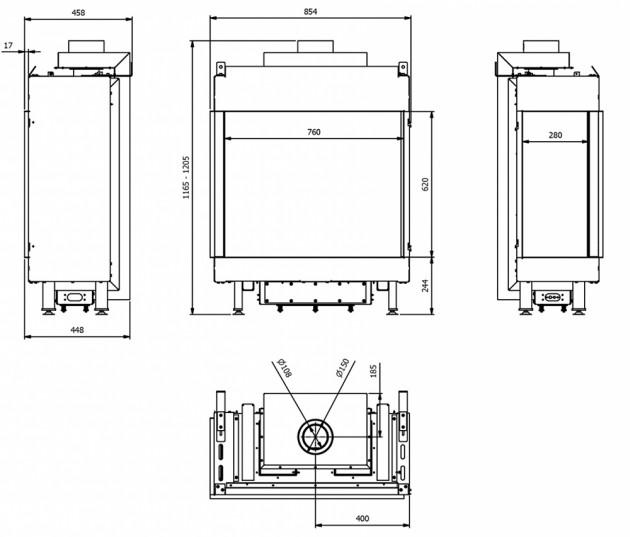 Schiță dimensiuni Semineu pe gaz (butelie) - L76/62 Sticla Stanga - GPL G31 - 76