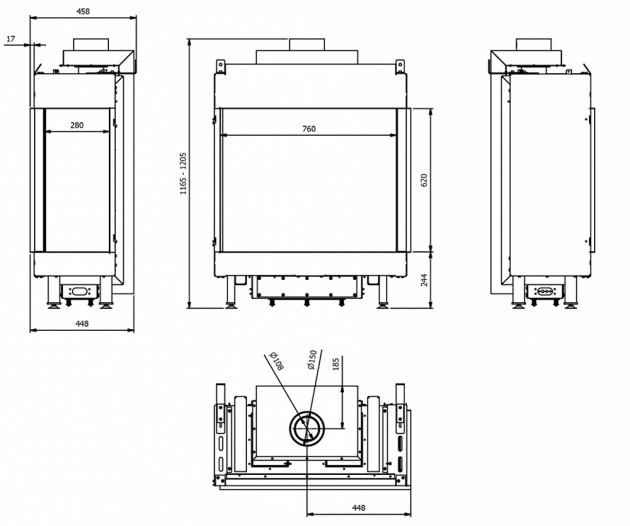 Schiță dimensiuni Semineu pe gaz (butelie) - L76/62 Sticla Dreapta - GPL G31 - 76cm