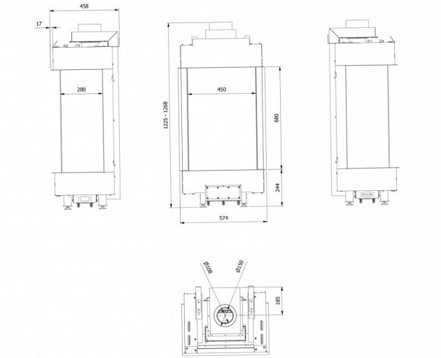Schiță dimensiuni Semineu pe gaz (butelie) - L45/68 Sticla Stanga + Dreapta - GPL G31