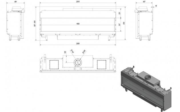 Schiță dimensiuni Semineu pe gaz (retea) - L200 G20 - 200cm