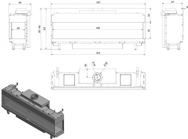 Schiță dimensiuni Semineu pe gaz (retea) - L200 Sticla Dreapta - G20 - 200cm