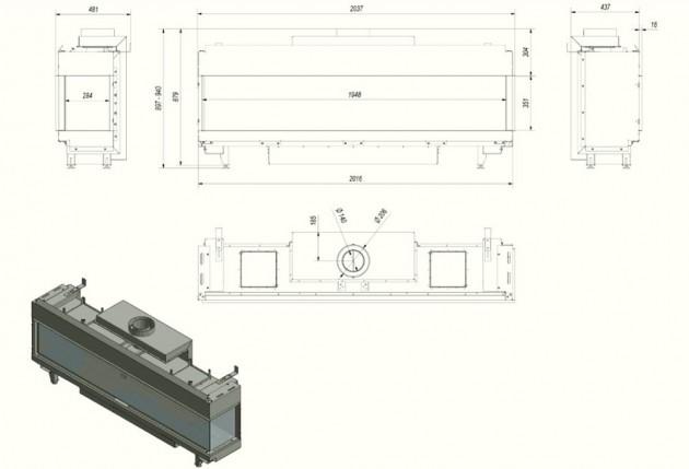 Schiță dimensiuni Semineu pe gaz (butelie) - L200 Sticla Dreapta - GPL (butelie) G31 - 200cm