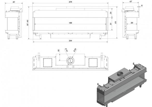 Schiță dimensiuni Semineu pe gaz (retea) - L200 Sticla Stanga + Dreapta - G20 - 2