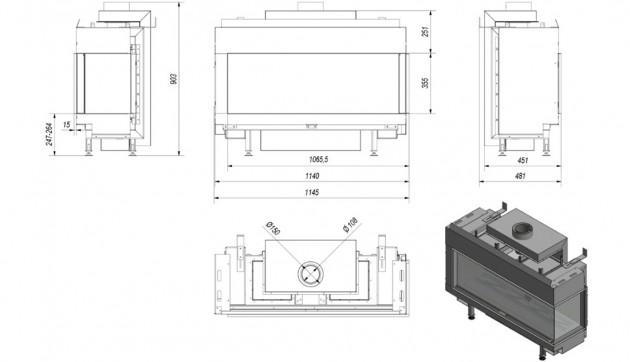 Schiță dimensiuni Semineu pe gaz (retea) - L100 Sticla Dreapta - G20 - 100cm