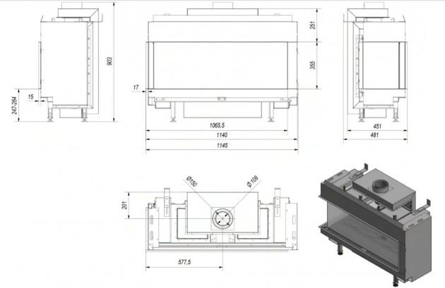 Schiță dimensiuni Semineu pe gaz (retea) - L100 Sticla Stanga - G20 - 100cm