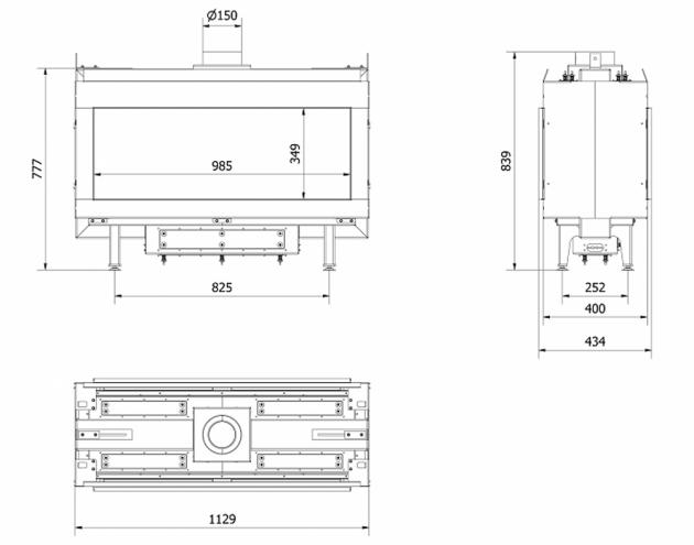 Schiță dimensiuni Semineu pe gaz (butelie) -  L100 Tunel - GPL G31 - 100cm