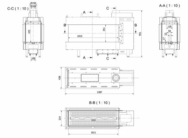 Schiță dimensiuni Semineu pe gaz (butelie) - L100 vedere 3 laturi GPL G31 - 100cm