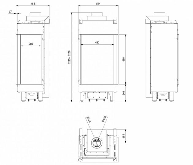 Schiță dimensiuni Semineu pe gaz (butelie) - L45/68 Sticla Dreapta - GPL G31 - Turn