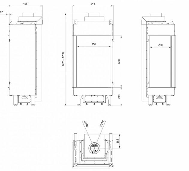 Schiță dimensiuni Semineu pe gaz (butelie) - L45/68 Sticla Stanga - GPL G31 - Turn