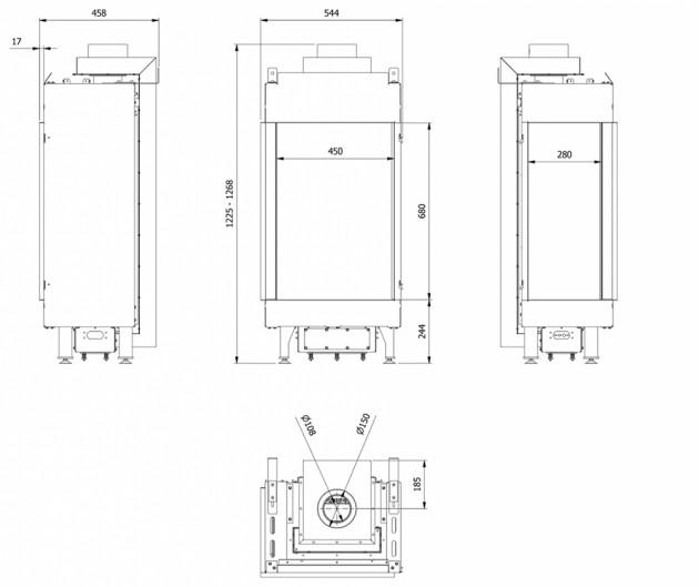 Schiță dimensiuni Semineu pe gaz (retea) - L45/68 Sticla Stanga - G20 - Turn