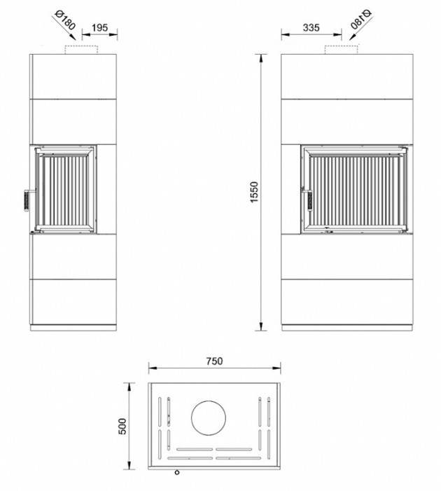 Schiță dimensiuni Semineu prefabricat cu imbracaminte modulara din ceramica - HORIZON 3 ALB