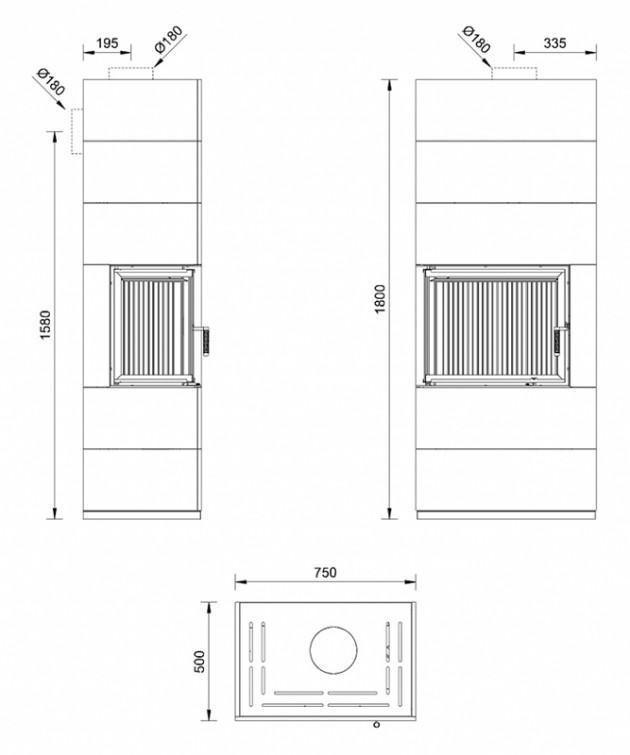 Schiță dimensiuni Semineu prefabricat cu imbracaminte modulara din ceramica - VISION 3 ANTRACIT