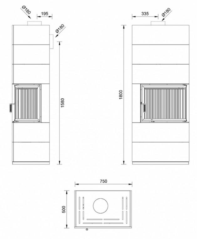 Schiță dimensiuni Semineu prefabricat cu imbracaminte modulara din ceramica - VISION 3 ASPECT BETON