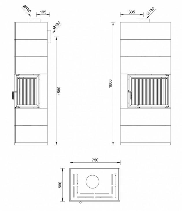 Schiță dimensiuni Semineu prefabricat cu imbracaminte modulara din ceramica - VISION 2 PIATRA NATURALA