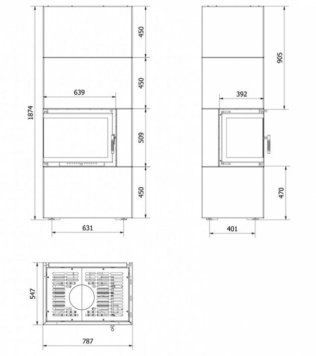 Schiță dimensiuni Semineu modular prefabricat - SIMPLE BOX