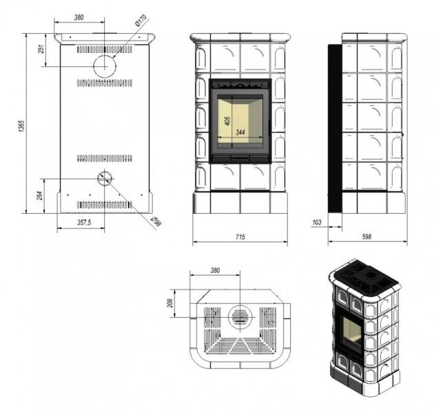 Schiță dimensiuni Semineu modular prefabricat - BK 8-11KW