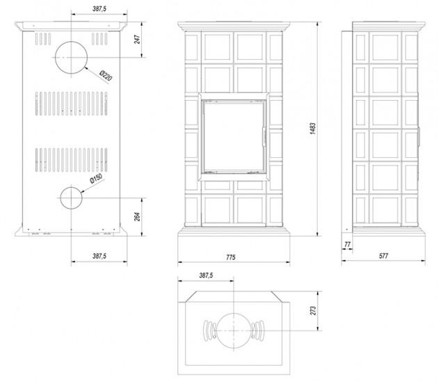 Schiță dimensiuni Semineu modular prefabricat - MILANO