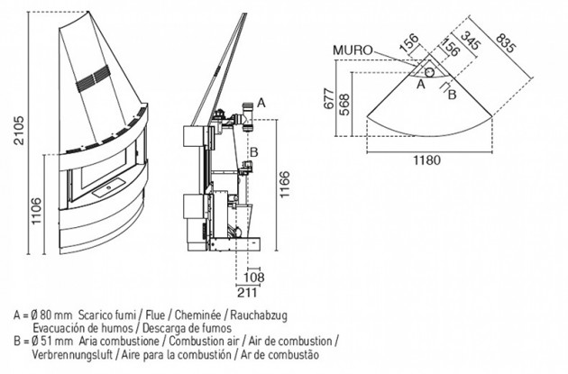 Schiță dimensiuni Semineu modular prefabricat - RAFFAELLO