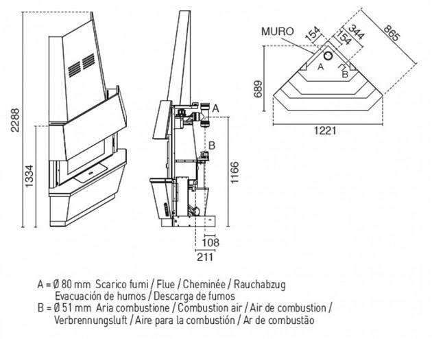 Schiță dimensiuni Semineu modular prefabricat - GIOTTO