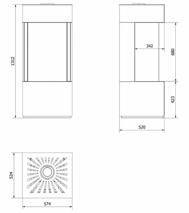 Schiță dimensiuni Semineu Sticla Stanga + Dreapta - L48/68
