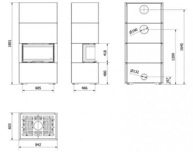 Schiță dimensiuni Semineu modular prefabricat - EASY BOX
