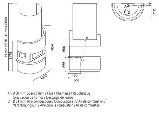 Schiță dimensiuni Semineu modular prefabricat - MICHELANGELO