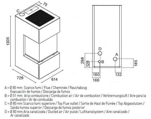 Schiță dimensiuni Semineu modular prefabricat - TREVISI