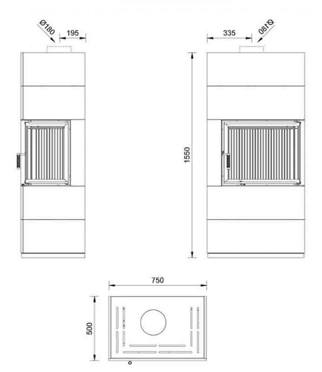 Schiță dimensiuni Semineu modular prefabricat - HORIZON 2