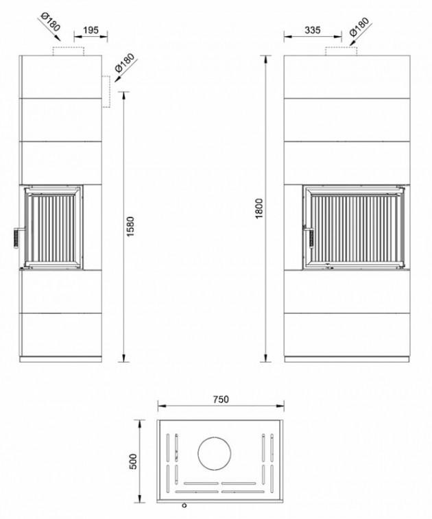 Schiță dimensiuni Semineu modular prefabricat - VISION 3