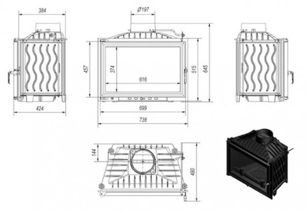 Schiță dimensiuni Focar de semineu - W140