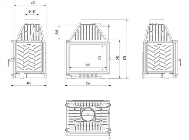 Schiță dimensiuni Focar de semineu - Z120 EVO