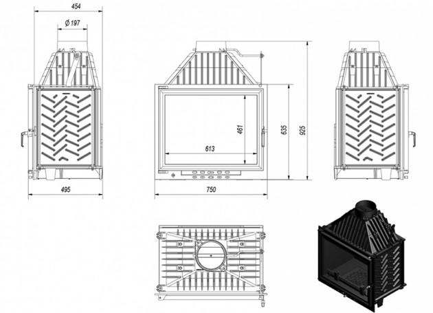 Schiță dimensiuni Focar de semineu - A130 ECO