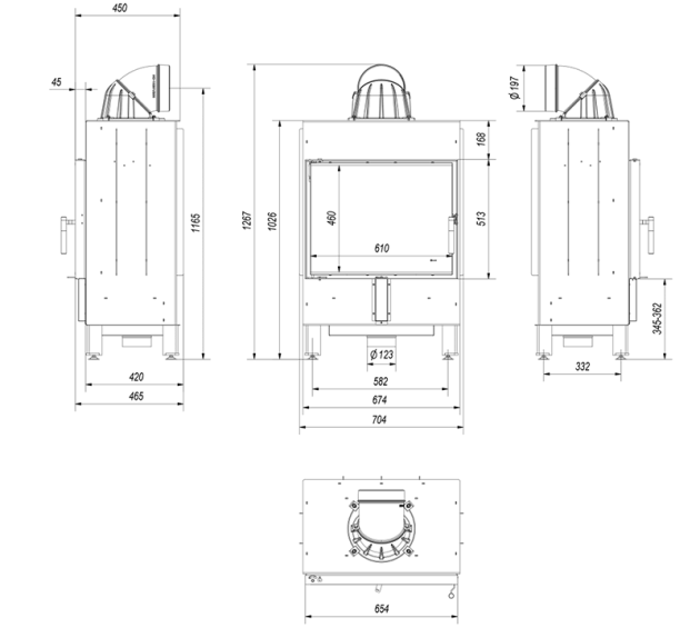 Schiță dimensiuni Focar de semineu - LUCY 12