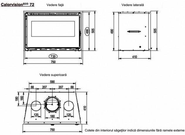 Schiță dimensiuni Focar de semineu - Calorvision 72 / 9kw - cu ventilator