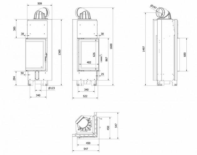 Schiță dimensiuni Focar de semineu - MBN680