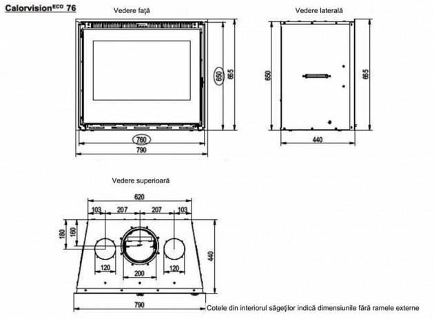 Schiță dimensiuni Focar de semineu - Calorvision 76 / 11 kw - cu ventilator