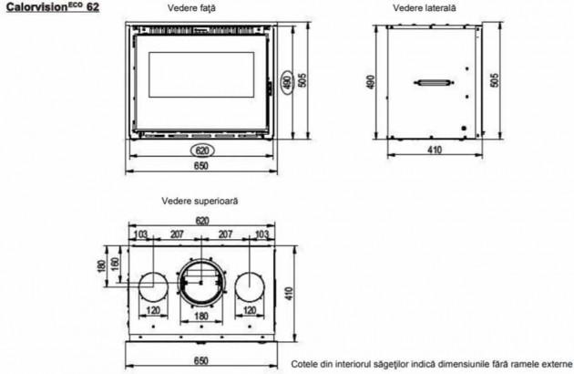 Schiță dimensiuni Focar de semineu - Calorvision 62 / 7 kw - cu ventilator