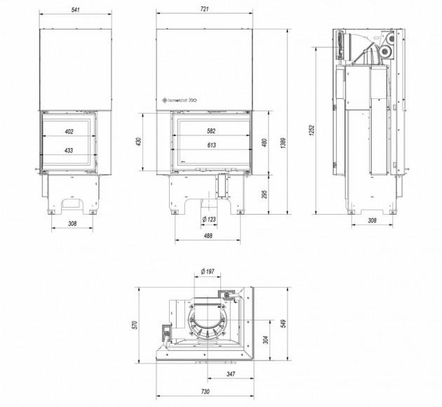 Schiță dimensiuni Focar de semineu - VN 610/430