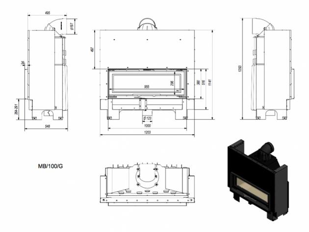 Schiță dimensiuni Focar de semineu - MB100 14kw Deschidere verticala