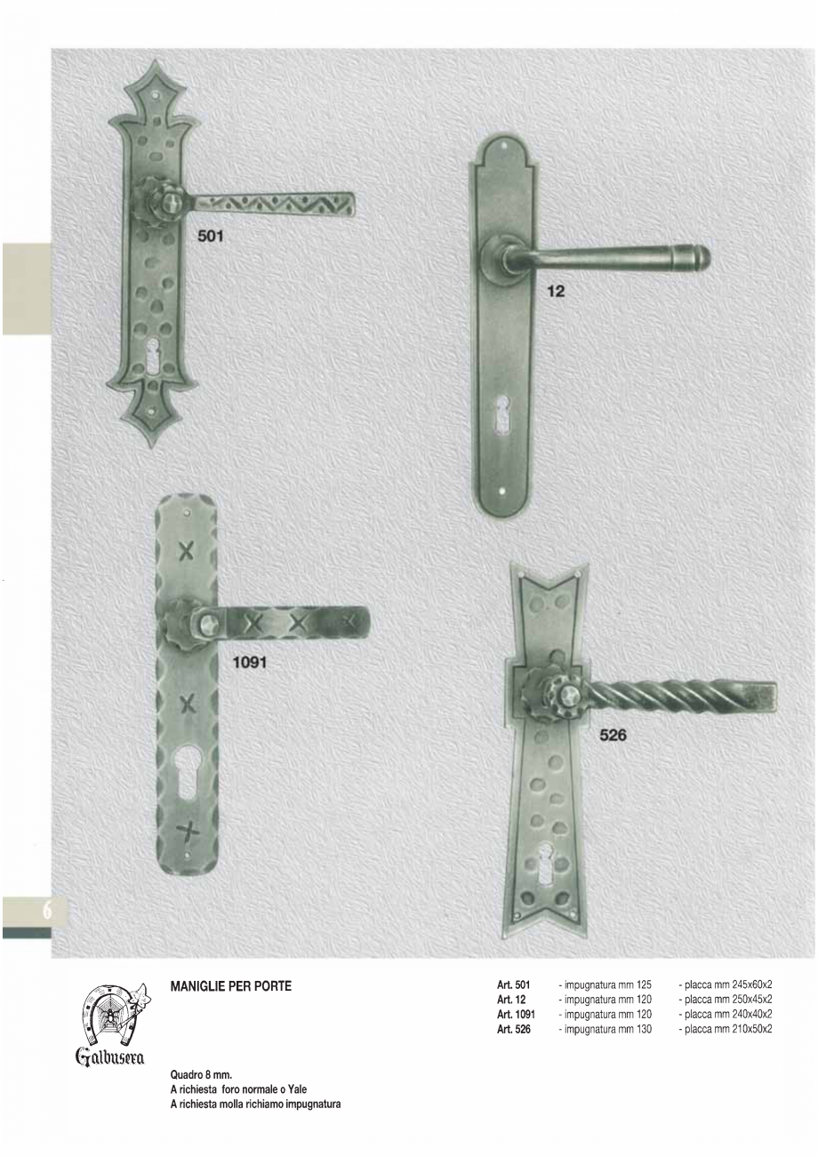 Pagina 8 - Manere si silduri din fier forjat pentru usi si ferestre GALBUSERA BAROC, BASEL, BERLIN, ...