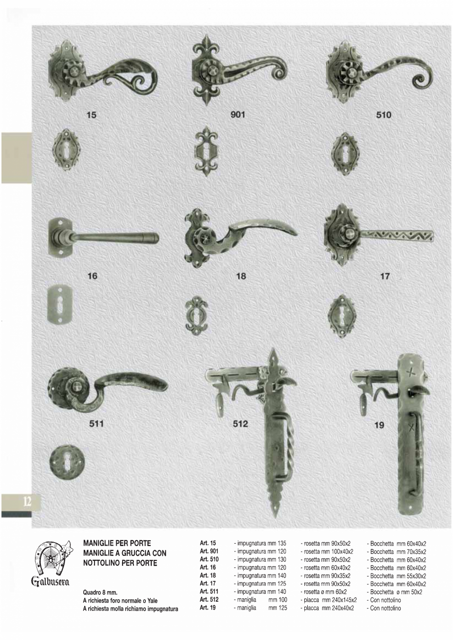 Pagina 14 - Manere si silduri din fier forjat pentru usi si ferestre GALBUSERA BAROC, BASEL, BERLIN,...